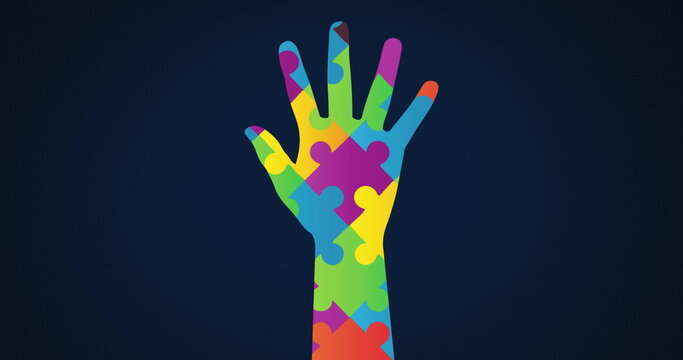 Image of multi coloured puzzle elements forming hand, symbol of Autism Awareness Month symbol