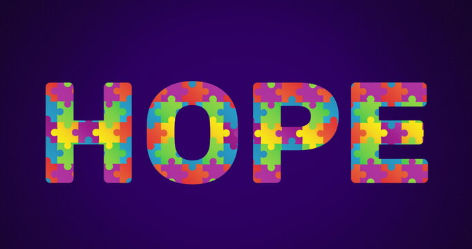 Image of multi coloured puzzle elements forming word Hope Autism Awareness Month symbol