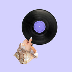 Modern design, contemporary art collage. Inspiration, idea, trendy urban magazine style. Female hand with vinyl disc plate on light background