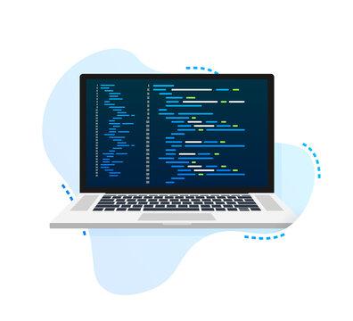 Vector laptop coding pattern. Web developer, design, programming. Laptop screen code. Vector illustration.