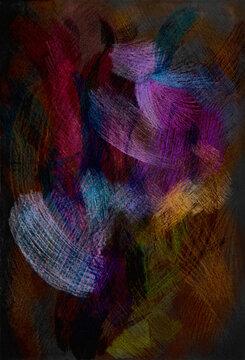 黒い背景にスクラッチしたような質感のカラフルな色鉛筆アート