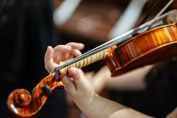 Closeup of a musician playing violin at the concert