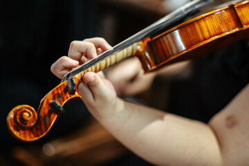 Closeup of a violinist playing violin at the concert