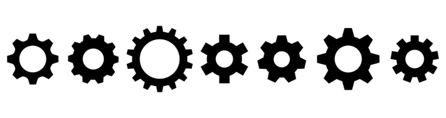 Gear setting icon vector collection. Cog wheel and gears isolated. Symbol of setting. Vector illustration