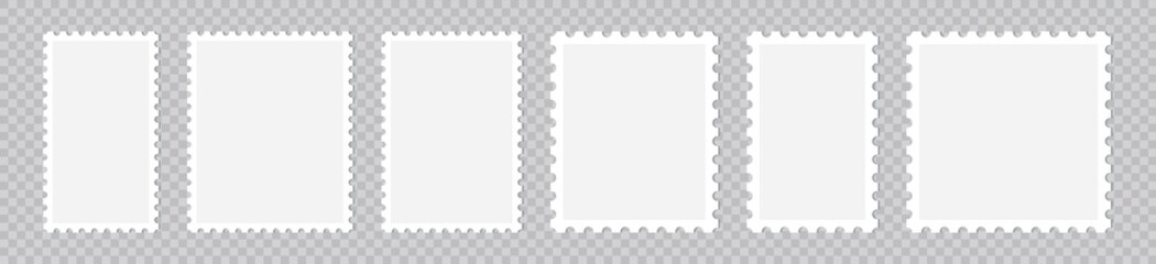 Obraz Light Postage Stamps collection, Postage stamp borders isolated on transparent background, vector illustration - fototapety do salonu