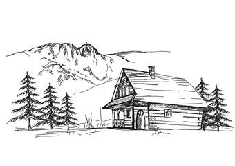 dom, boże narodzenie, zima, dom, śnieg, drzew, ilustracja, krajobraz, holydays, plik wektorowy, budowa, boże narodzenie, wieś, charakter, scena, icony, architektura, bory, komiks, bungalow, pora roku,