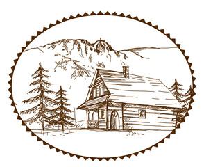 Zakopane, Giewont, góry, góralska chata, folklor, szczyt, podhale, góralski, styl góralski, drewniana chata, parzenica, rysy, tatry,