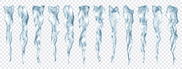 Set of translucent realistic gray icicles of different lengths on transparent background. Transparency only in vector format