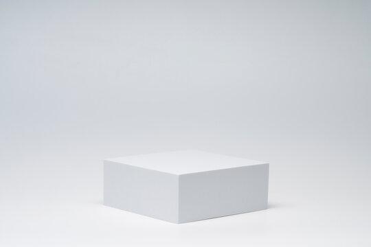 White product background. Empty podium