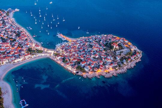 Adriatic tourist destination of Primosten - UNESCO World Heritage, Dalmatia, Croatia. Aerial panoramic.