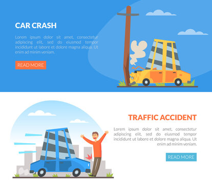 Car Accident with Motor Vehicle Colliding with Pedestrian and Pole Vector Illustration
