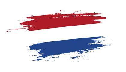 Obraz Hand drawn brush stroke flag of Netherlands. Creative national day hand painted brush illustration on white background - fototapety do salonu