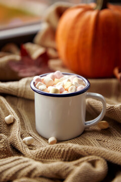 season, leisure and objects concept - camp mug of marshmallow and pumpkin on window sill in autumn