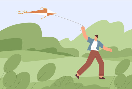 Adult man walking with flying air kite outdoors. Person holding it with string and fly to sky. Happy guy playing with toy alone. Kidult having fun in nature. Flat vector illustration