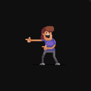 Pixel art male character pointing to the side with his fingers