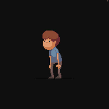 Pixel art male character staring at something at the side