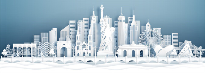 Fototapeta Panorama view New York City, United States of America skyline with world famous landmarks in paper cut style vector illustration. obraz