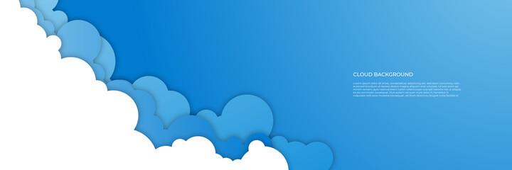 Blue cloud banner background