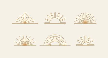 Fototapeta Vector set of design elements and shapes - boho sun symbols  - logo design templates, frames, photo overlays and stars obraz