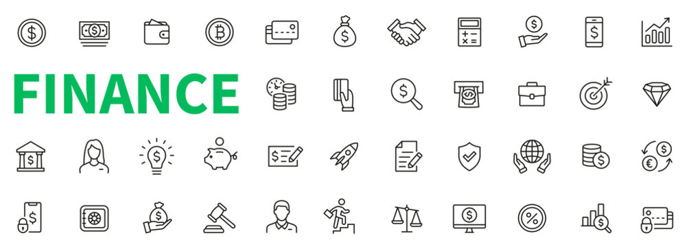 Money and finance icons set. Money, finance, dollar, bitcoin, crypto currency and payments elements. Finance line icon collection - stock vector.