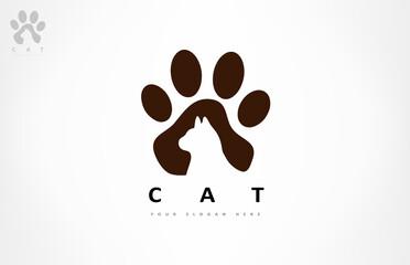 Obraz Cat and paw print logo vector animal design - fototapety do salonu