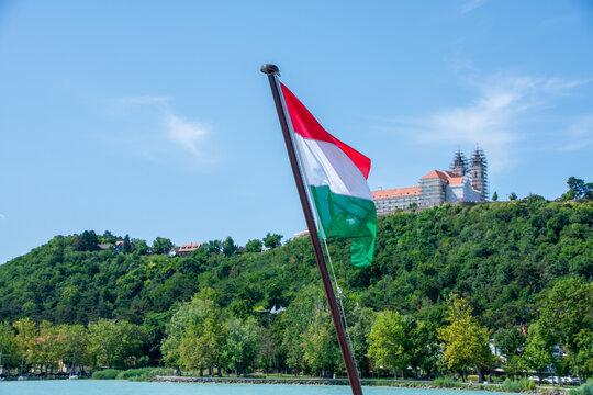 Hungarian flag in the town of Tihany at Lake Balaton