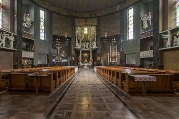 kościół, wnętrze, katolicki, szeroki kąt, świątynia, ołtarz, prezbiterium