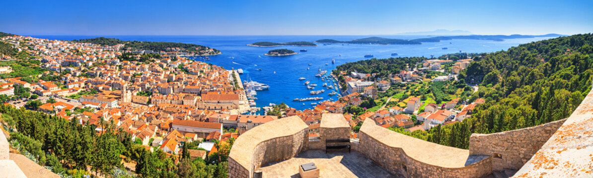 Coastal summer landscape, panorama from the fortress - top view of the town of Hvar, on the island of Hvar, the Adriatic coast of Croatia