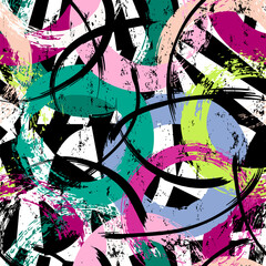 seamless background pattern, with circles, stripes, paint strokes and splashes, on black and white