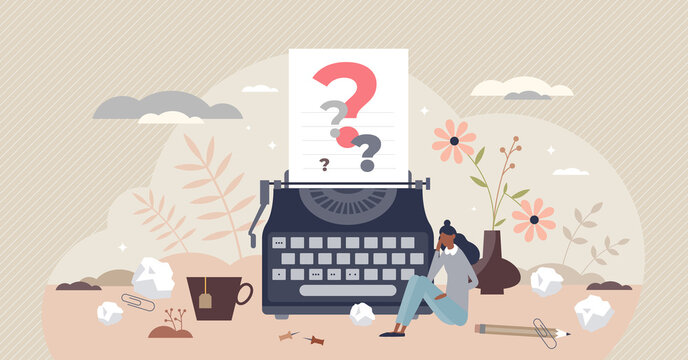 Writers block as missing creative muse for story content tiny person concept. Stress, pressure and confusion because of difficulties to get inspiration vector illustration. Author imagination crisis.