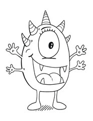 Cute Monster Vector Illustration Art Coloring Book Page