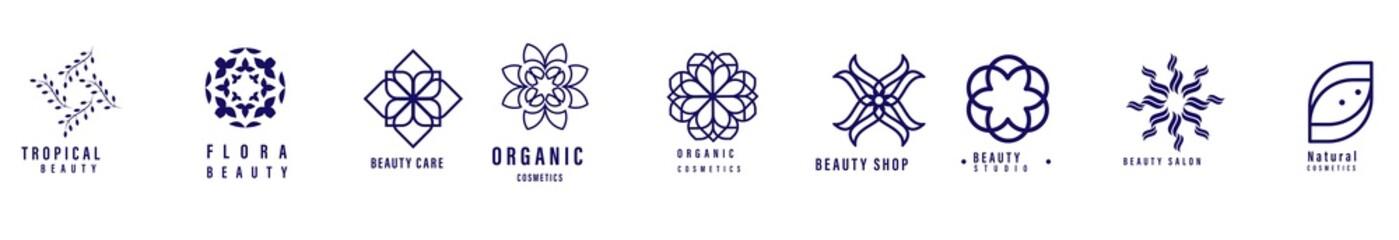 Linear flowers logo set. Monochrome simple line art logotype collection. Florist decorative design element. Vector. set of Wedding monogram logos collection, floral logo set.