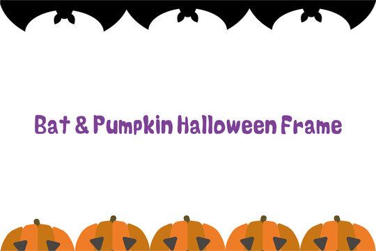 コウモリとかぼちゃのおばけ、ジャックオーランタンのハロウィンモチーフ上下フレーム背景