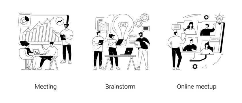 Team communication abstract concept vector illustrations.