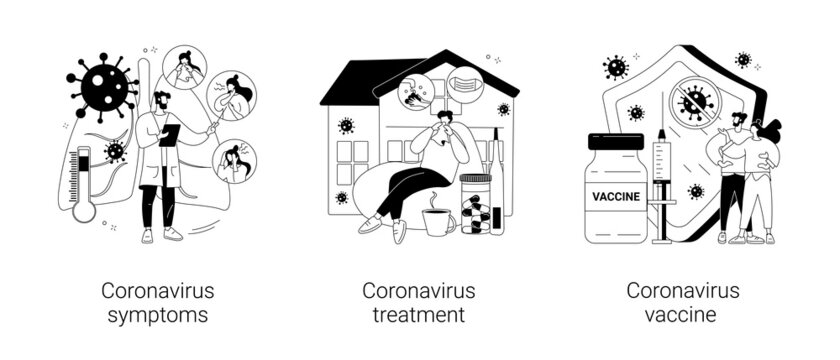 Covid19 pandemic abstract concept vector illustrations.