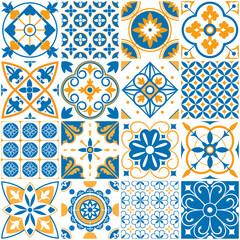 Mediterranean pattern. Decorative lisboa seamless patterns. Ornamental elements for portugal decor mosaic tiles vector set