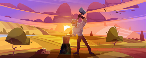 Man villager with axe chop firewood on rural dusk landscape background with field and pink sky. Lumberjack cutting wood logs for home warm, village or countryside life, Cartoon vector illustration