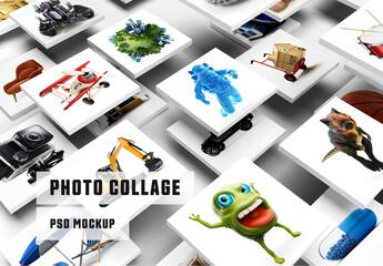 Fototapeta 3D Photo Collage Mockup obraz