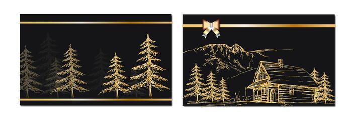 Las, pocztówka, drzewa, drzewo, złoto, zima, podhale, zakopane,