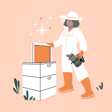 Beekeeper holding hive. Beekeeper with smoker and honeycomb.  female honey maker save the bees.  bee colony home. Agriculture work Outdoors.