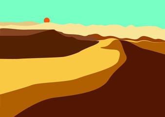 Clear sky and desert vector illustration