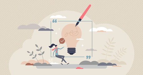 Fototapeta Writing inspiration and creative content imagination tiny person concept. Artist with muse to write innovative story or literature work vector illustration. Thoughtful novel or journalism creation. obraz