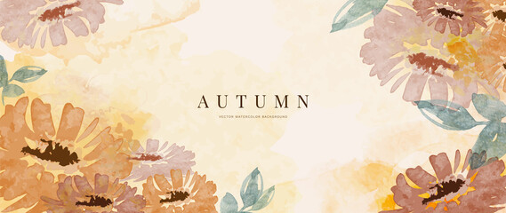 Obraz Autumn background design  with watercolor brush texture, Flower and botanical leaves watercolor hand drawing. Abstract art wallpaper design for wall arts, wedding and VIP invite card. vector eps10 - fototapety do salonu
