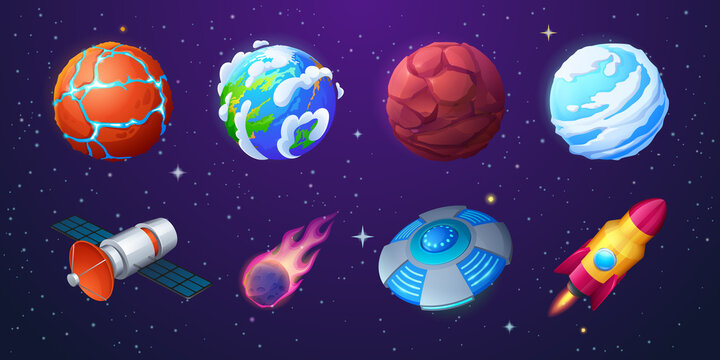 Earth, alien planets, rocket, ufo spaceship and meteor on background of outer space with stars. Vector cartoon set of shuttle, satellite, flying saucer, meteorite with fire and unusual planets