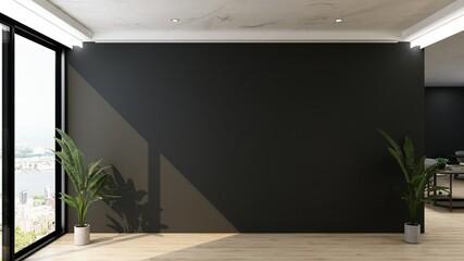 office wooden lobby waiting room for company wall logo mockup
