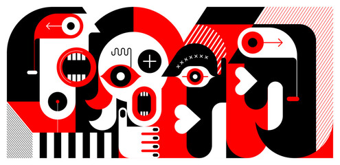 Red and black colors isolated on a white background Meeting of Four People vector illustration.