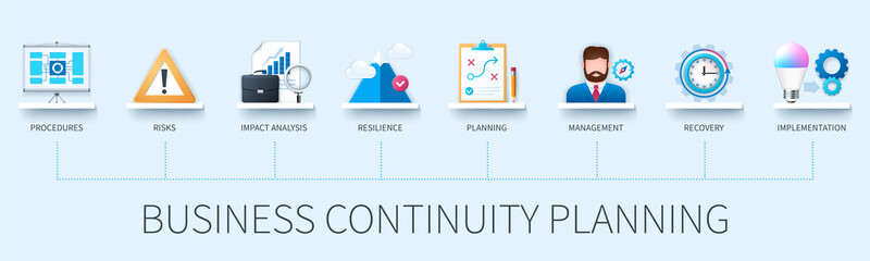 Business continuity planning banner with icons. Procedures, risk, impact analysis, resilience, planning, management, recovery, implementation icons. Business concept. Web vector infographic in 3D styl
