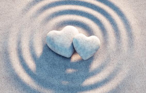Herzen aus Stein in Sandwellen