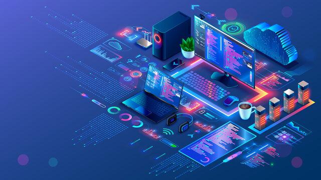 Computer technology isometric illustration. PC, laptop, phone on desk, tech symbols, design elements of apps, development environment of programming software of mobile, desktop computer platforms.