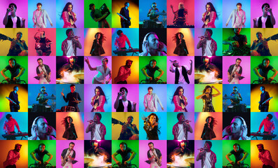 Collage of faces of surprised musicians on multicolored backgrounds. Happy men and women smiling. Human emotions, facial expression concept.